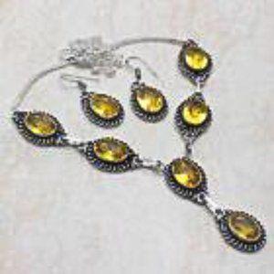 Citrine Topaz. Necklace & Earrings